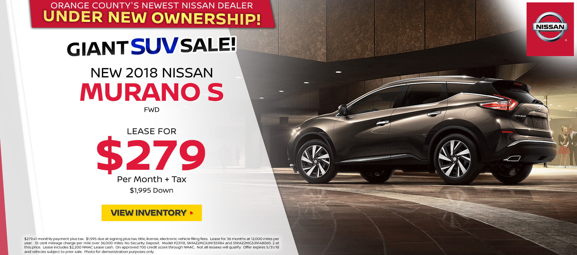 2018 Nissan Murano $279 Lease