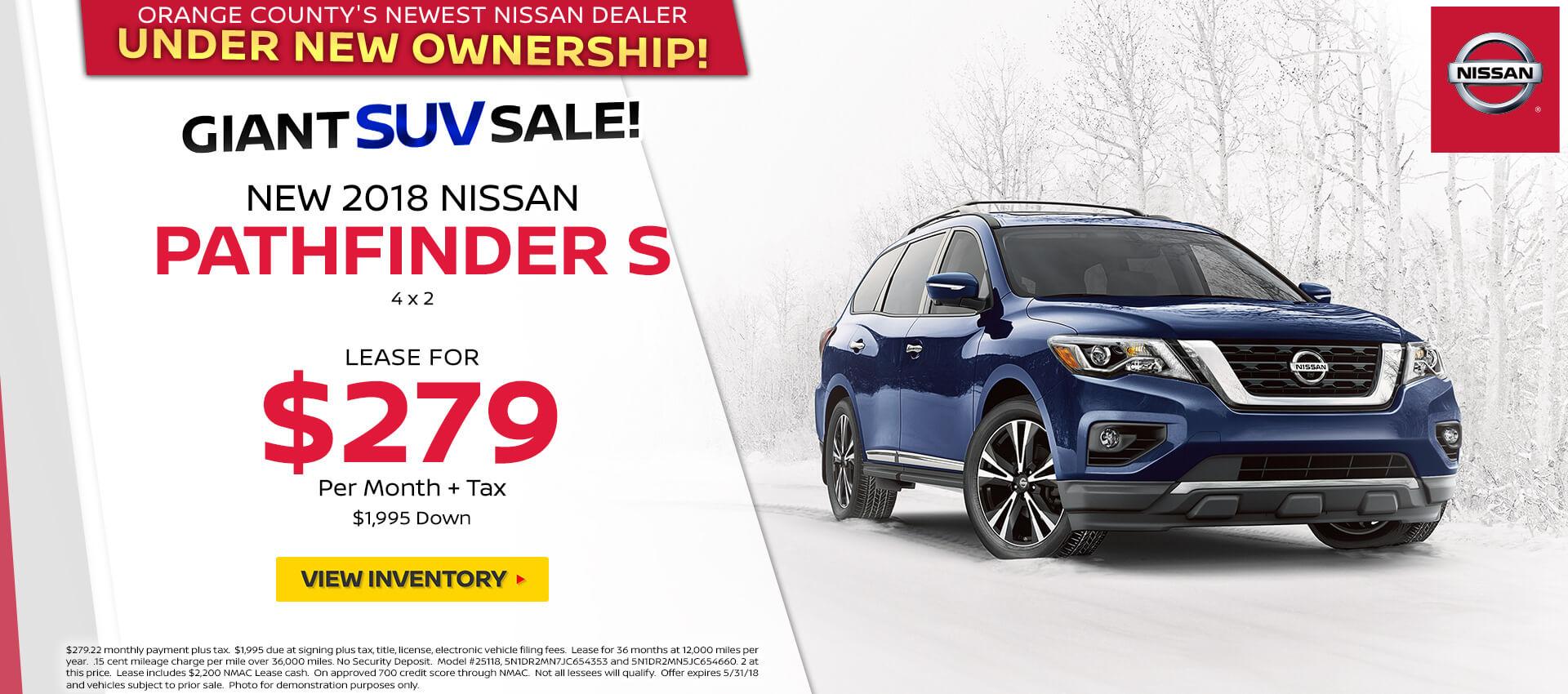 2018 Nissan Pathfinder $279 Lease