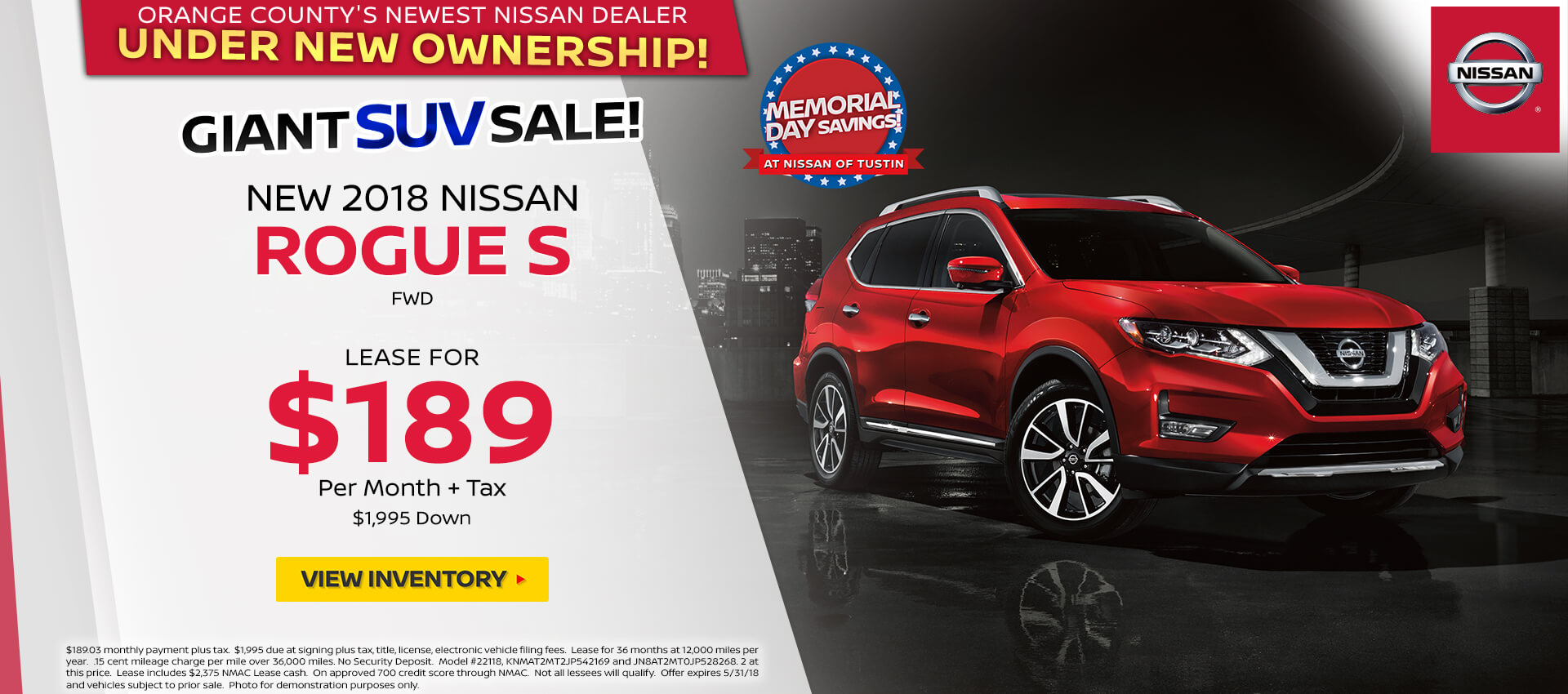 2018 Nissan Rogue $189 Lease