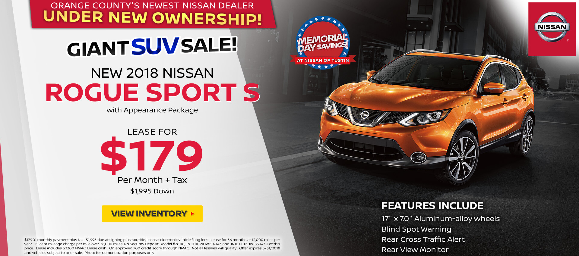 2018 Nissan Rogue Sport $179 Lease