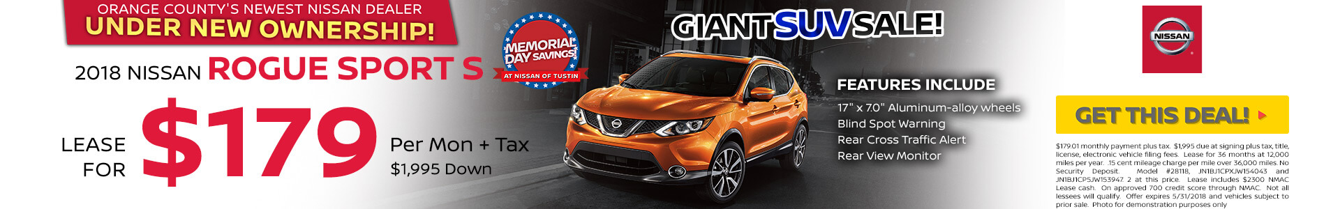 2018 Nissan Rogue Sport $179 Lease