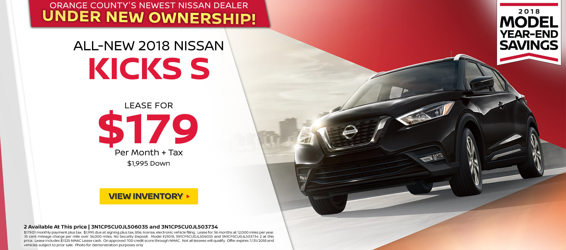 2018 Nissan Kicks $169 Lease