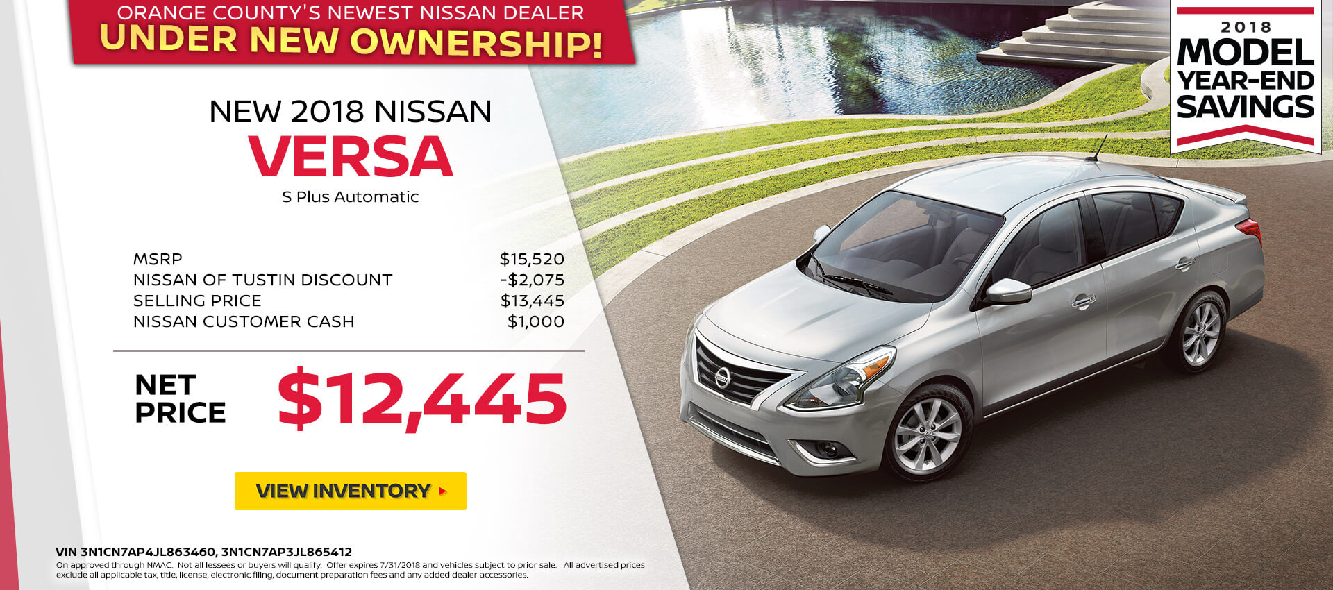 2018 Nissan Versa S Purchase