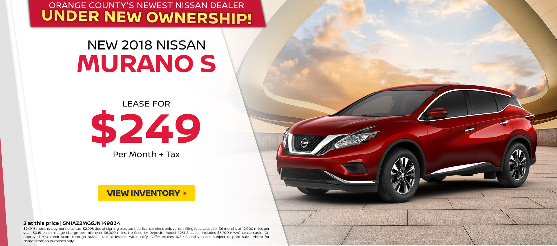 2018 Nissan Murano $249 Lease