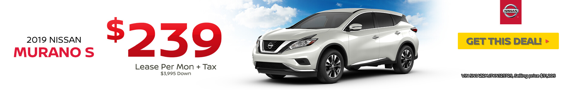 2019 Nissan Murano Lease $239