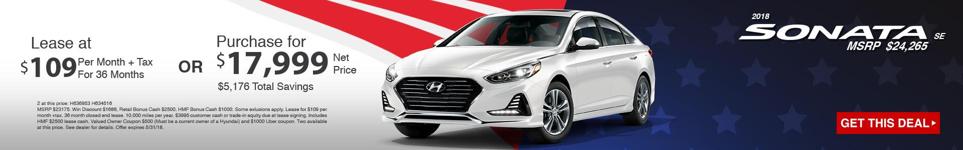 2018 Hyundai Sonata SE $109