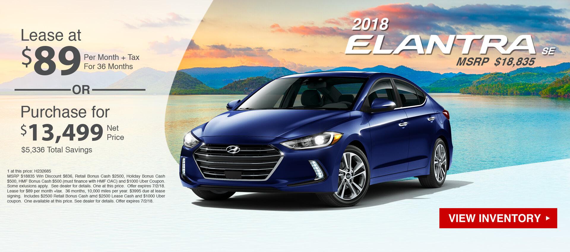 2018 Hyundai Elantra $89