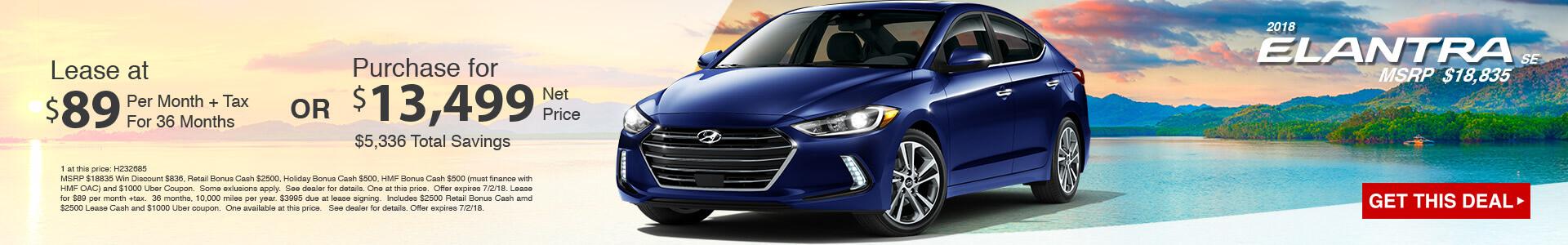 2018 Hyundai Elantra SE $89