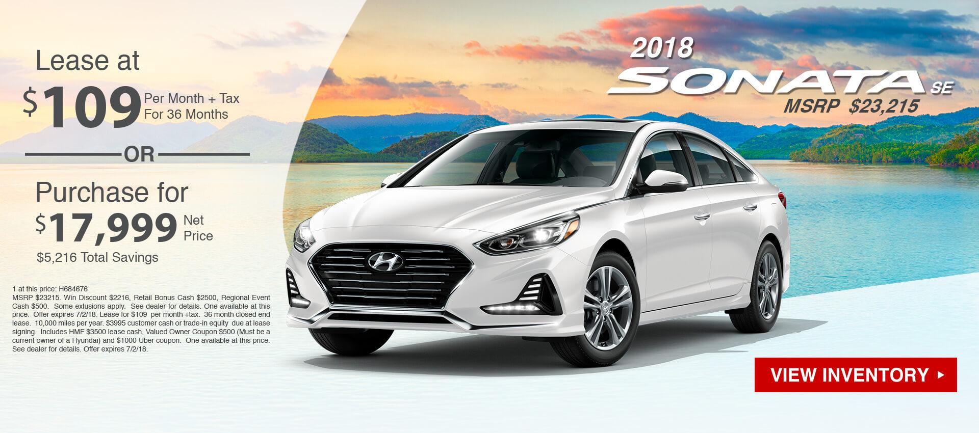 2018 Hyundai Sonata $109