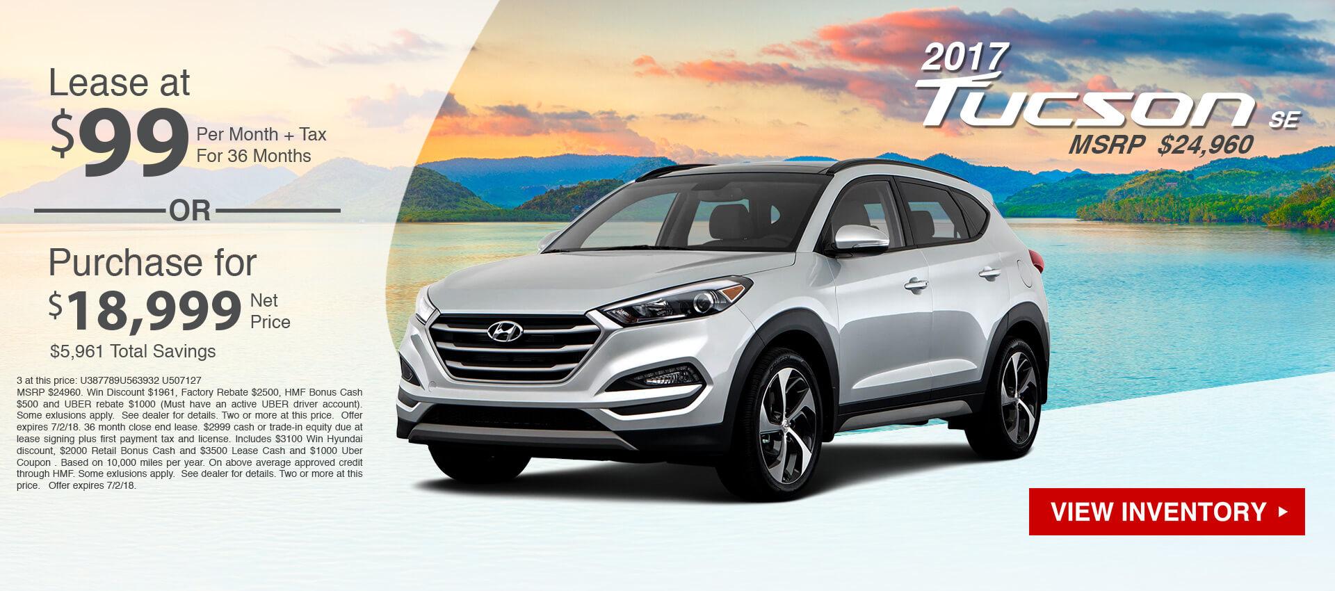 2017 Hyundai Tucson $99