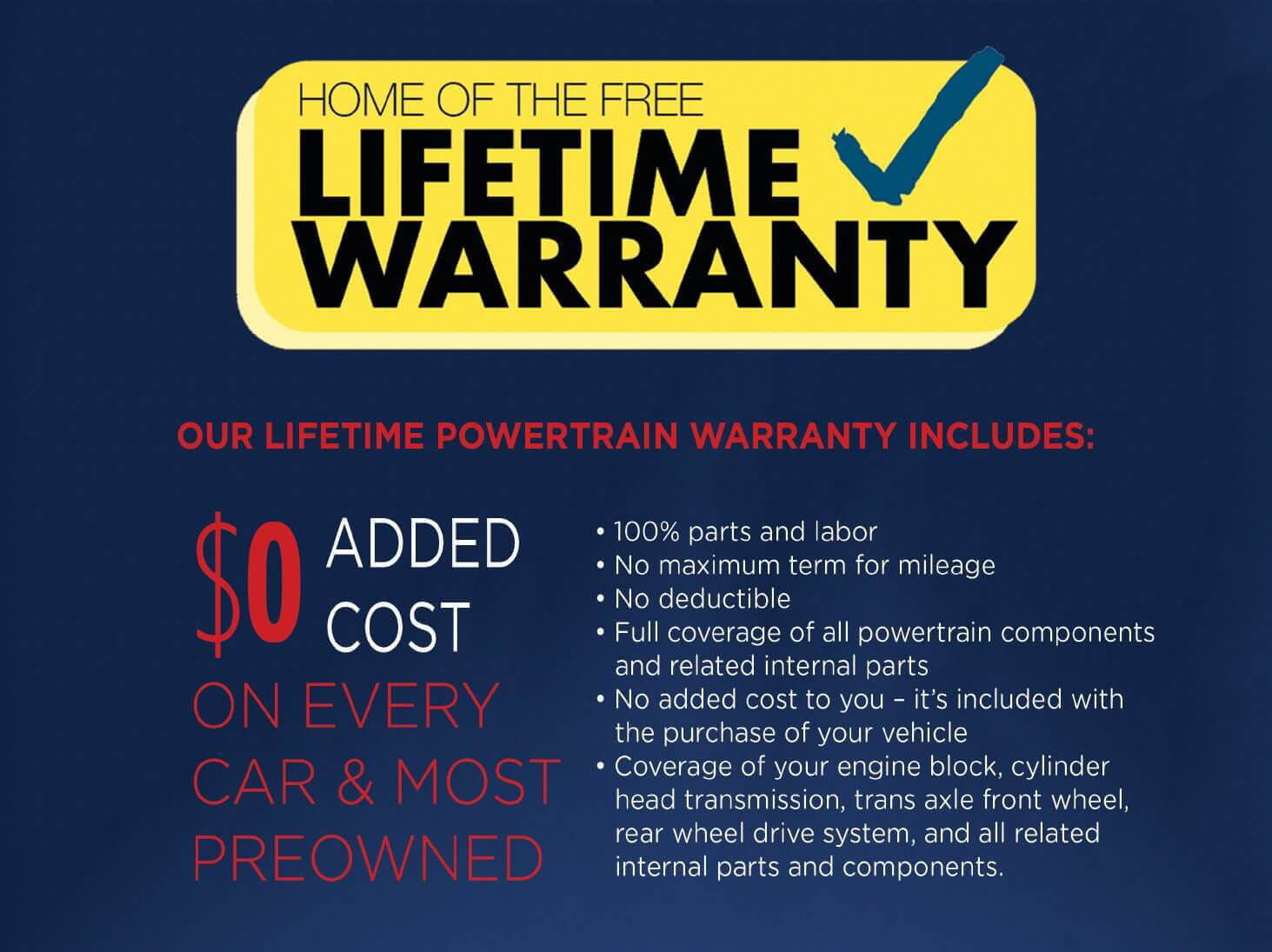 Powertrain Warranty Coverage >> Free Lifetime Warranty On All New Most Used Cars