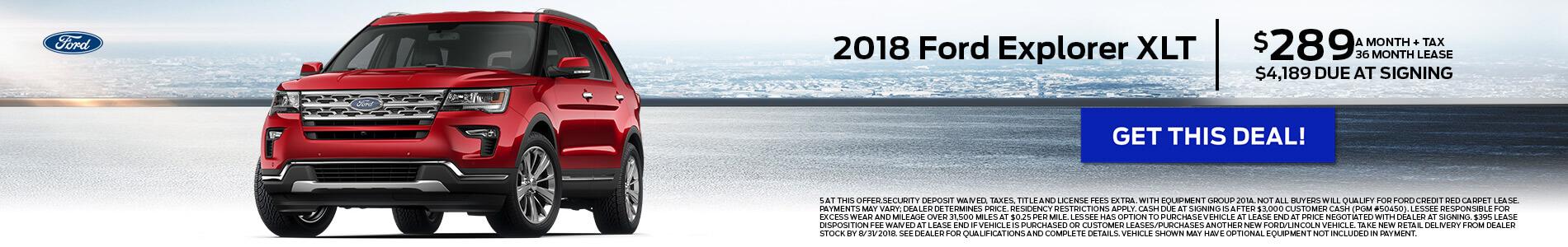 2018 Ford Explorer $289
