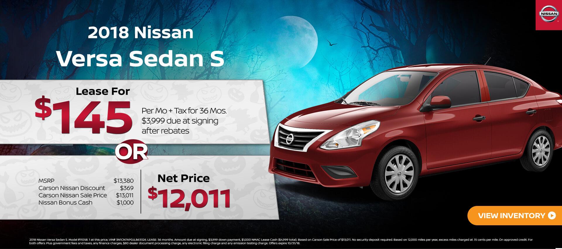 Homepage Specials. 2018 Nissan Versa Sedan