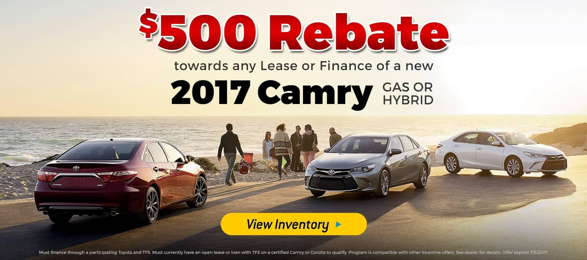 $500 Rebate Camry