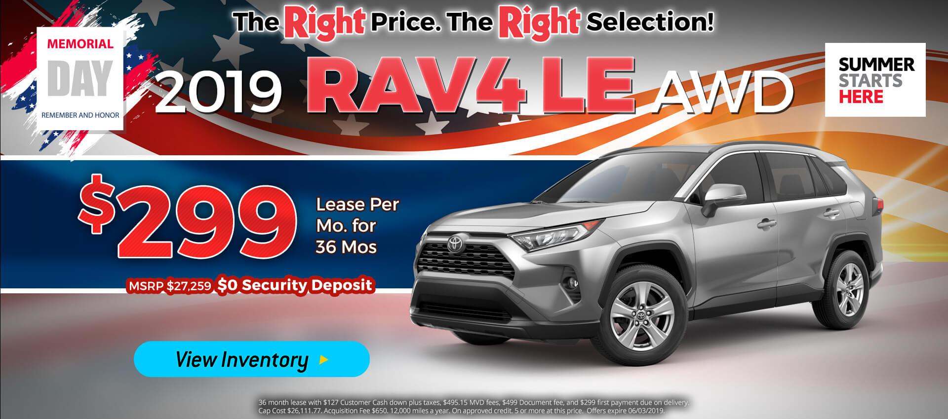 Rav4 - Lease for $299