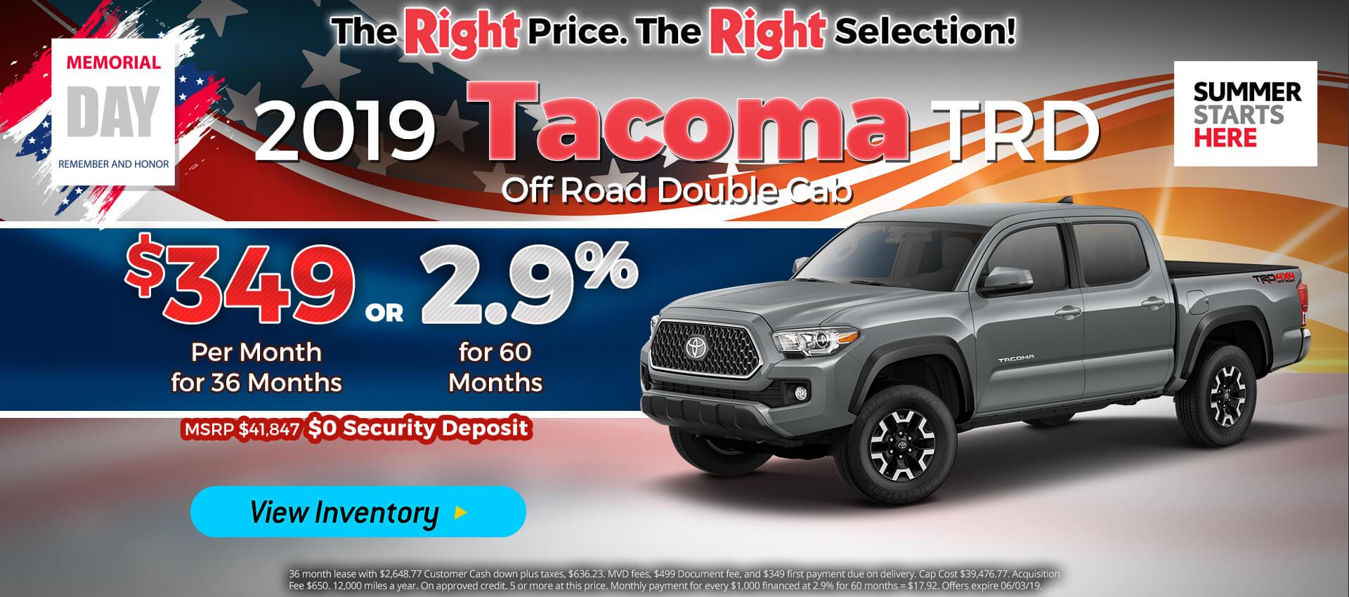 Tacoma - Lease for $349