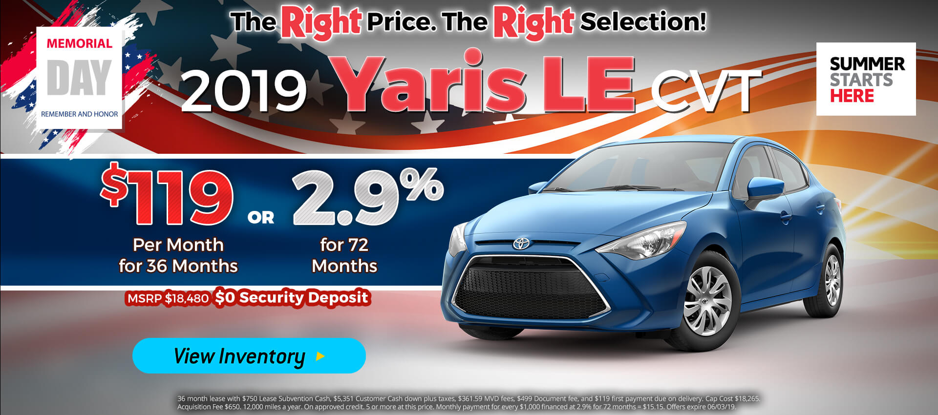 Yaris - Lease for $119
