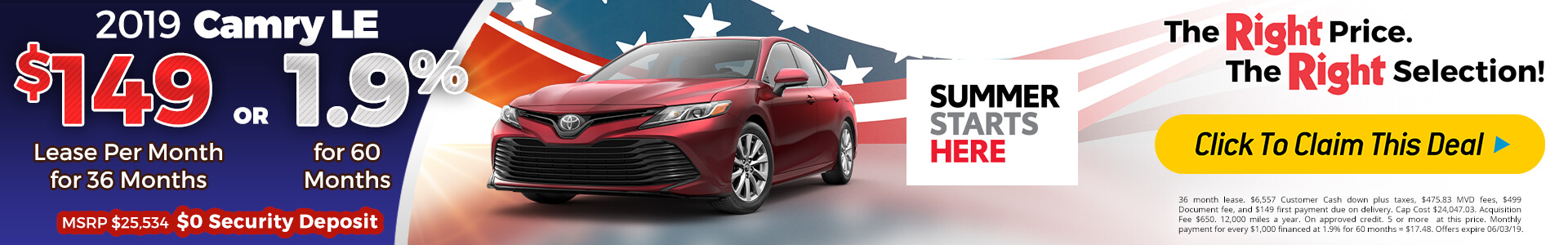 Camry - Lease for $149