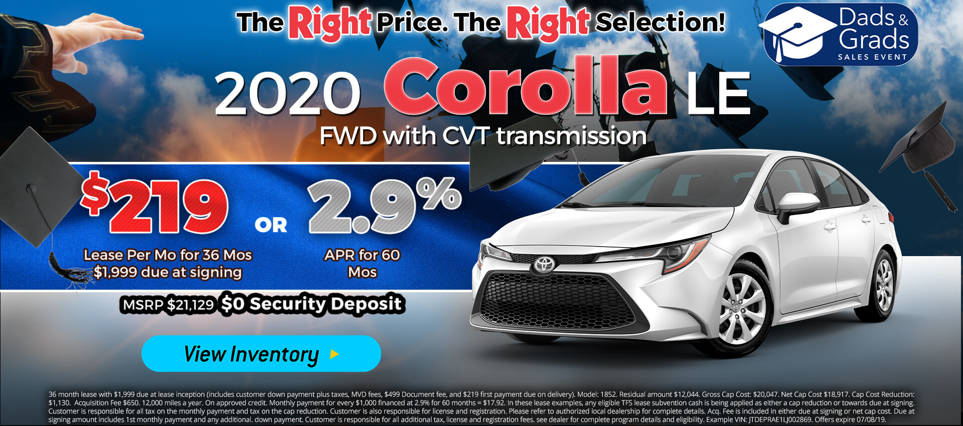 Corolla - Lease for $219
