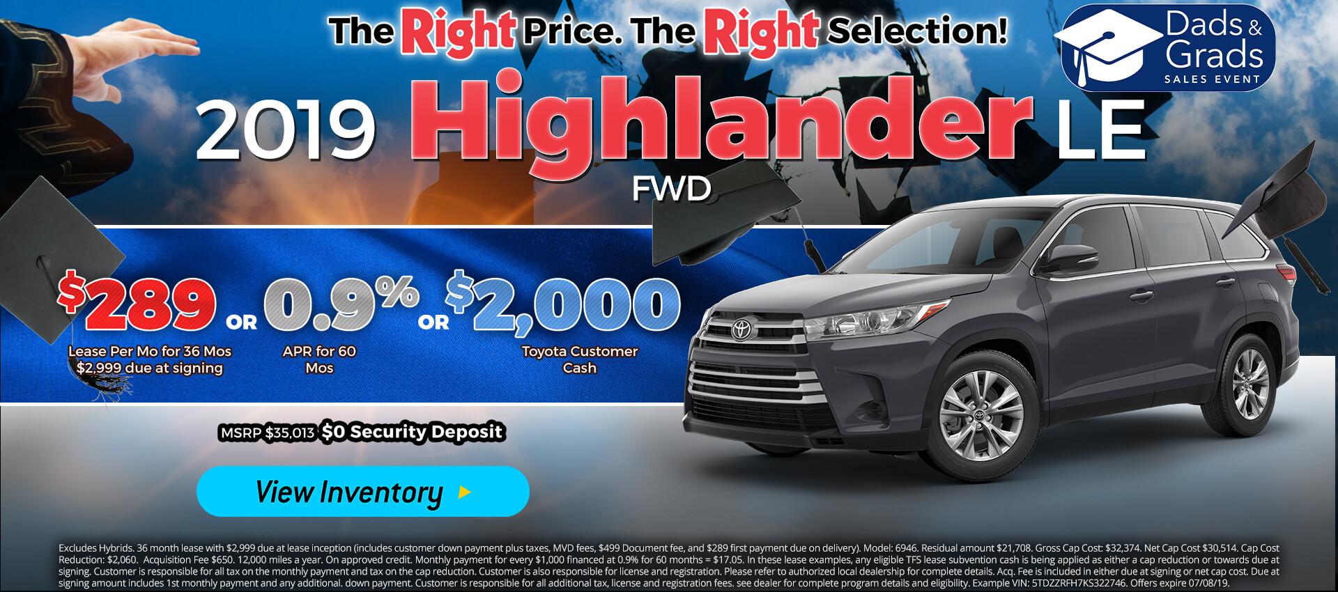 Highlander - Lease for $289