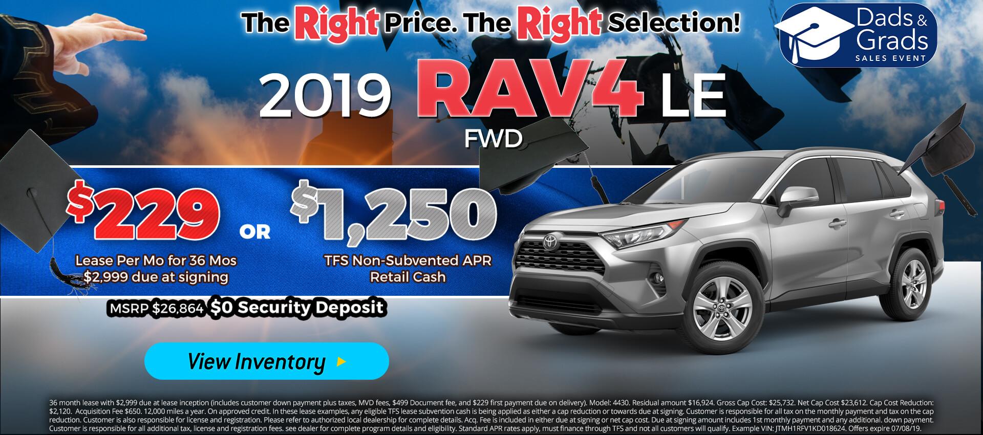 Rav4 - Lease for $229