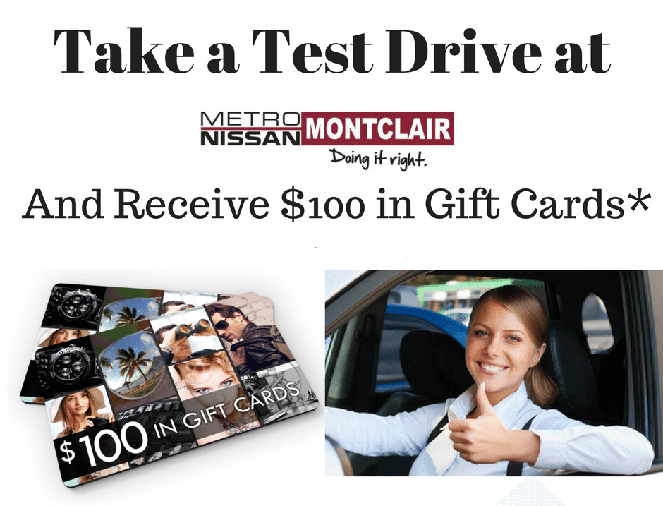 Take a test Drive and receive $100 in Gift Cards
