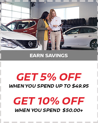 5% off $49.95 and 10% off $50+