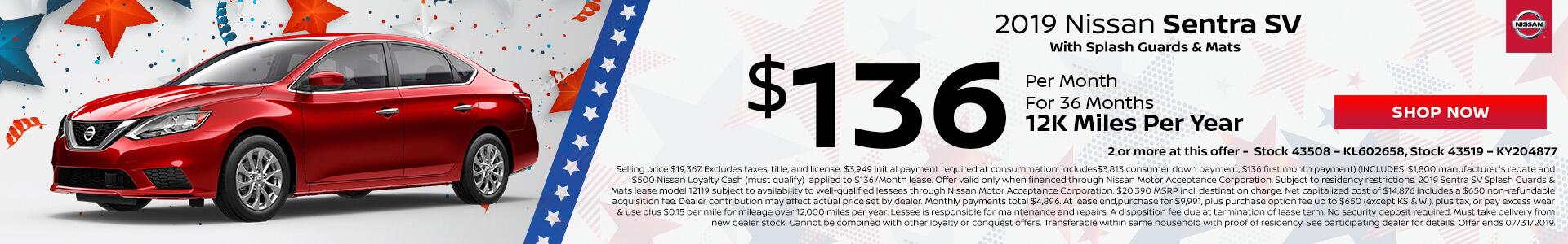 Nissan Sentra SV $136 Lease