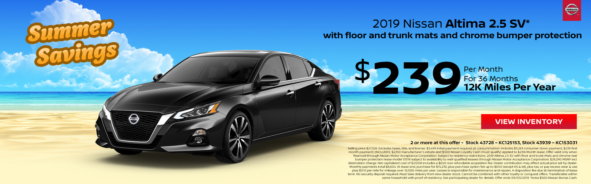 Nissan Altima $239 Lease