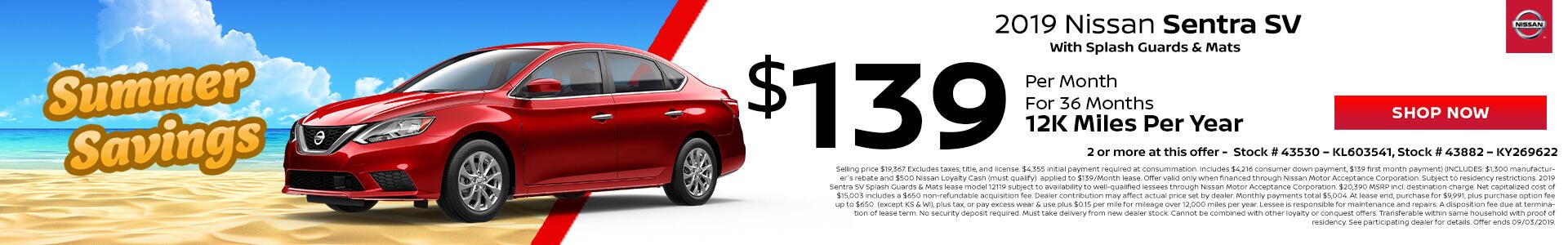 Nissan Sentra SV $139 Lease
