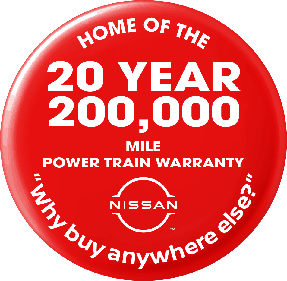 20 Year 200,000 Power Train Warranty Included with Every New Nissan