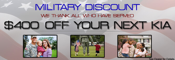 We thank all who have served $400 off your next Kia