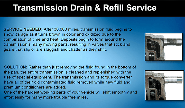 TRANSMISSION DRAIN AND REFILL SERVICE