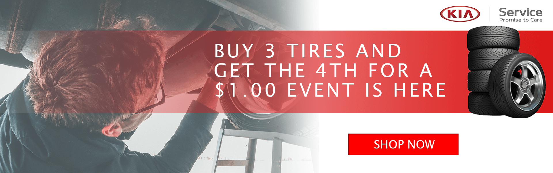 BUY 3 TIRES AND GET THE 4TH FOR A $1.00
