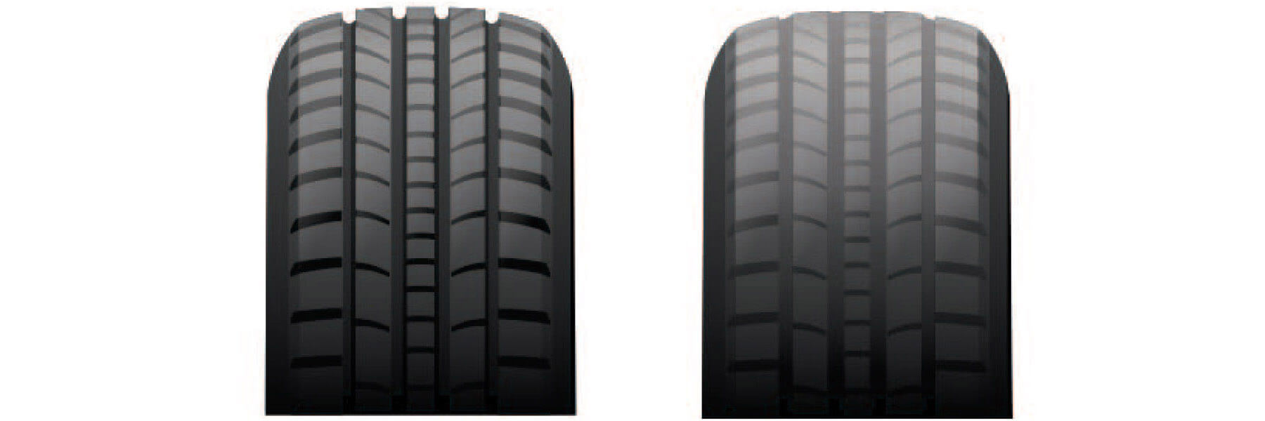 Tire tread depth comparison.