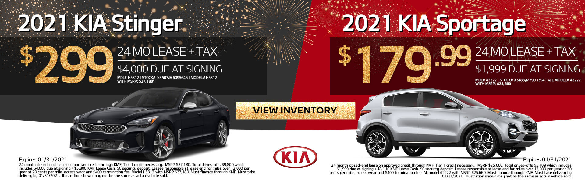 Stinger and Sportage on sale
