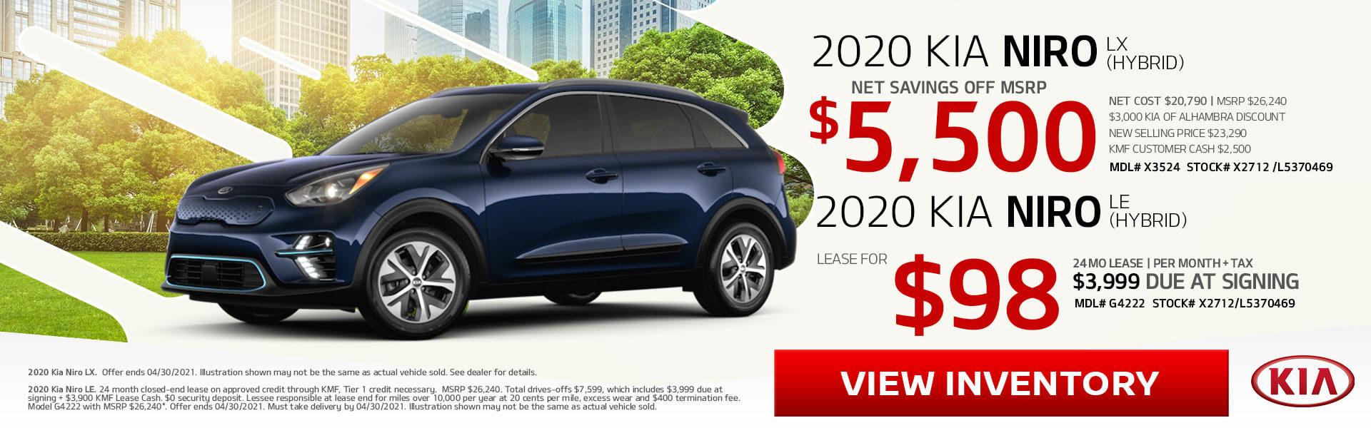 2020 Niro Hybrid on Sale!