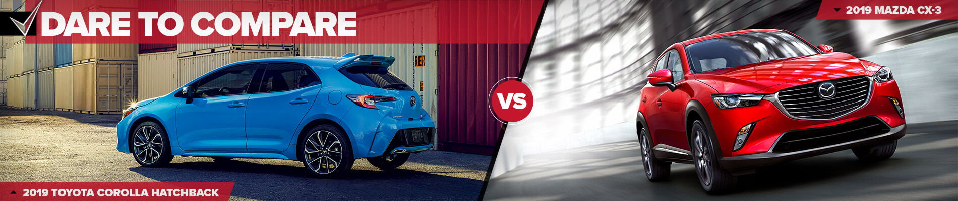 2019 toyota corolla hatchback vs. 2019 mazda cx-3