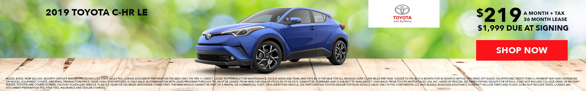 Toyota C-HR $219 Lease