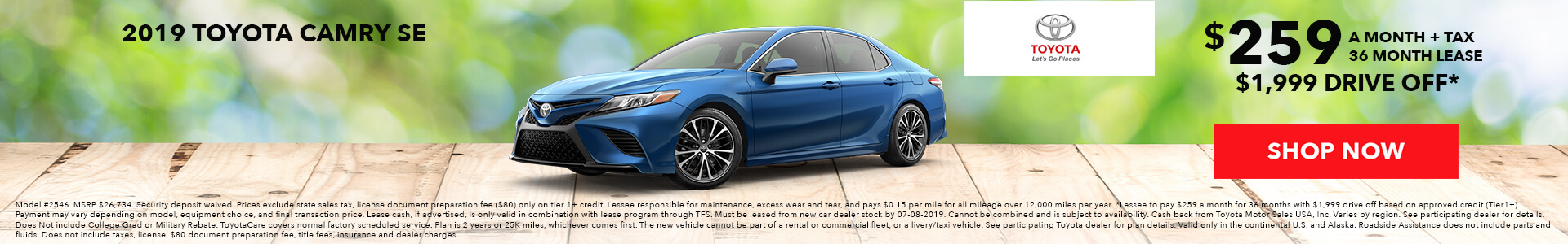 Toyota Camry $259 Lease