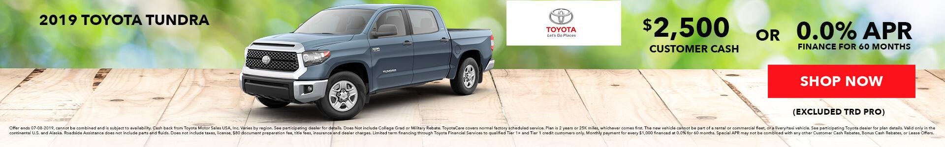 Toyota Tundra $2500 Customer Cash