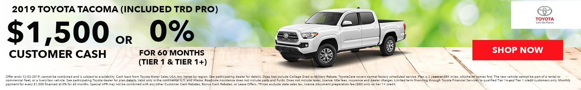 Toyota Tacoma $259 Lease