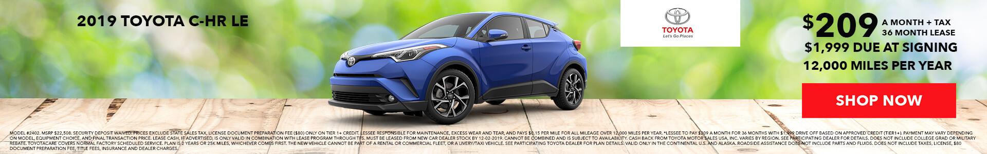 Toyota C-HR $219 Lease