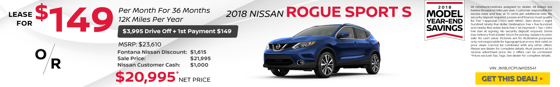 Nissan Rogue Sport $189 Lease or $23,995 Purchase