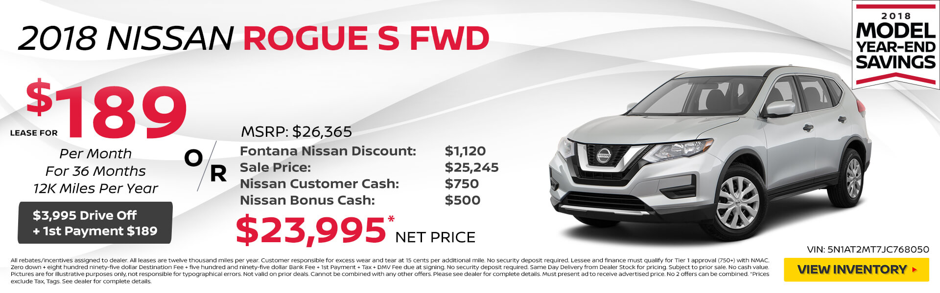Nissan Rogue $189 Lease or $23,995 Purchase