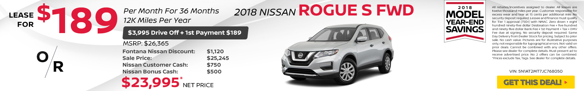 Nissan Rogue $149 Lease or $20,995 Purchase