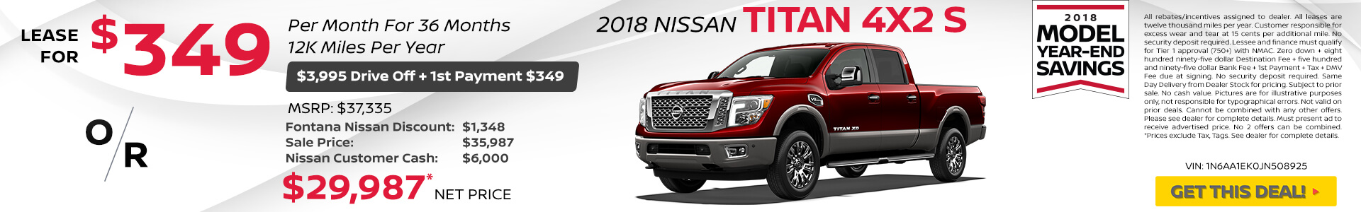 Nissan Titan #349 Lease $29,987 Purchase