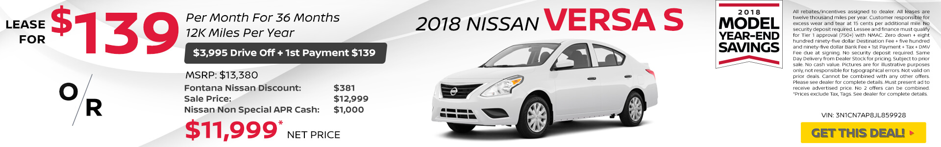 Nissan Versa $139 Lease or $11,999 Purchase