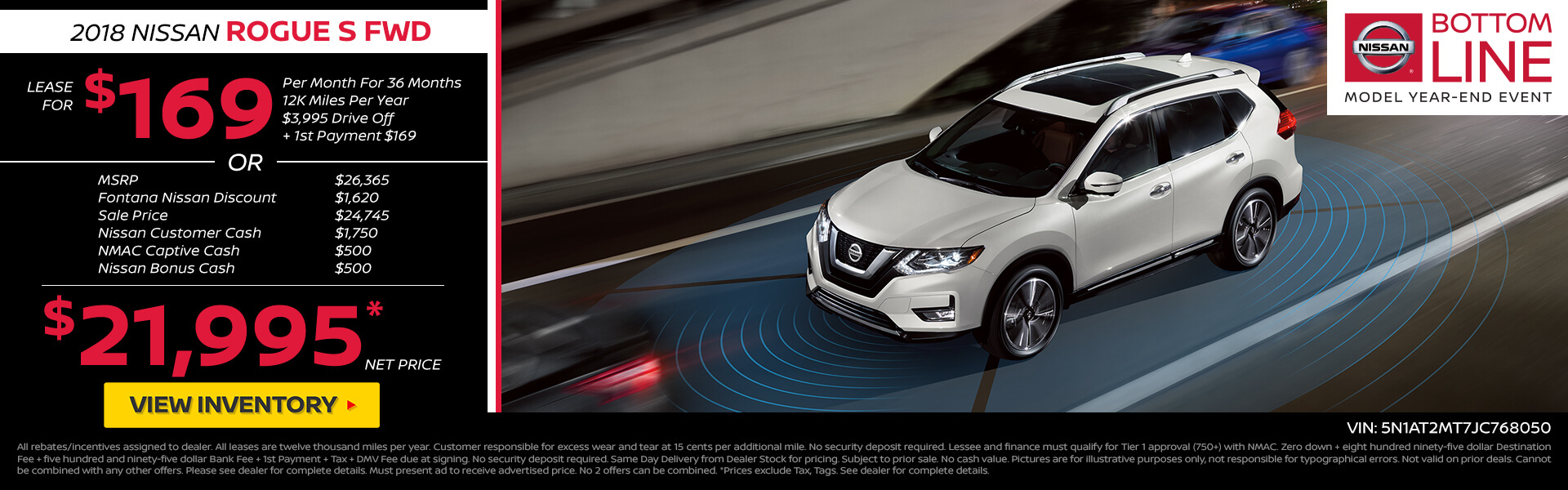 Nissan Rogue $169 Lease or $22,995 Purchase