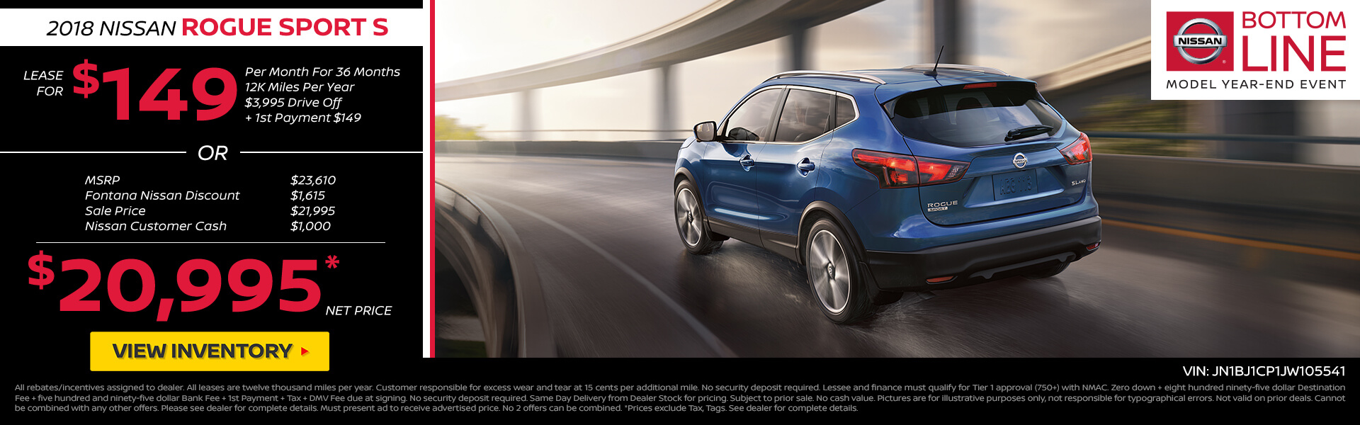 Nissan Rogue Sport $149 Lease or $20,995 Purchase